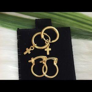 Bundle of 2 pairs 18 K Gold Filled Hoop Earrings